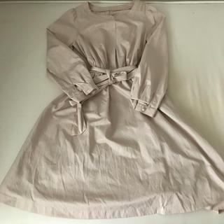 クチュールブローチ(Couture Brooch)のクチュールブローチ ワンピース 長袖 裏地つき ピンク(ひざ丈ワンピース)