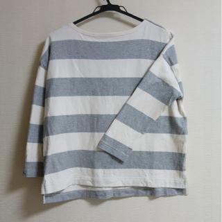 ムジルシリョウヒン(MUJI (無印良品))の無印良品 ボートネック ボーダーT グレー ドロップショルダー XS-S(Tシャツ(長袖/七分))