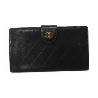シャネル(CHANEL)のシャネル 財布 ビコローレ ラムスキン がま口 二つ折り長財布 黒 ブラック(財布)