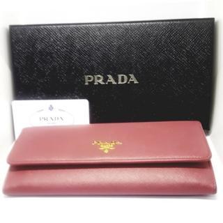 プラダ(PRADA)の【超美品】PRADA サフィアーノ 二つ折り 長財布(ピンク)(財布)