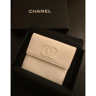 シャネル(CHANEL)のCHANEL キャビアスキン 二つ折り財布 ⭐️新品未使用⭐️(財布)