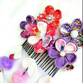 ☆ピンクと紫のちりめん髪飾り☆(ヘアアクセサリー)