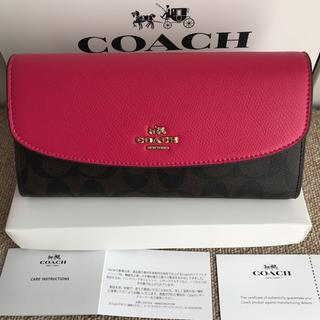 コーチ(COACH)のコーチ 長財布 COACH ブラウンxローズピンク フラットボタン(財布)