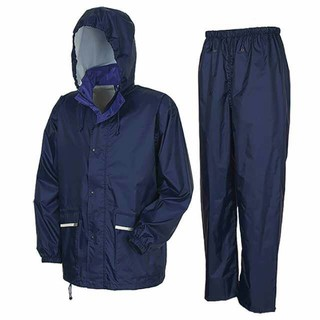 軽量・透湿 レインスーツ Lサイズ ネイビー カッパ 上下(レインコート)