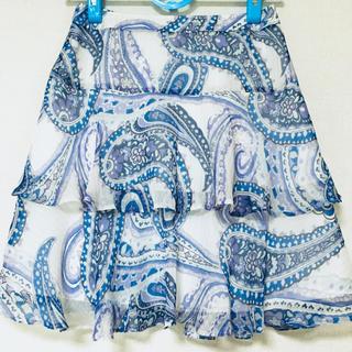 ヴァンドゥーオクトーブル(22 OCTOBRE)の22OCTOBRE  大人可愛いペイズリー柄シフォンティアードスカート  38(ひざ丈スカート)