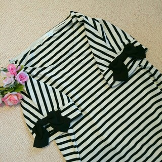 クチュールブローチ(Couture Brooch)の未使用♡リボン付きボーダートップス(カットソー(半袖/袖なし))