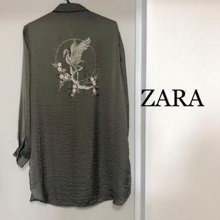 ザラ(ZARA)のZARA ザラ 刺繍 ロング丈 シャツ ブラウス(シャツ/ブラウス(長袖/七分))