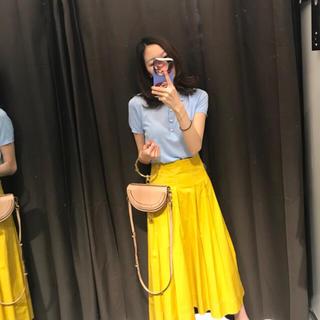 ザラ(ZARA)のZara 星玲奈さん着用  コントラストトップステッチ入りスカート(ロングスカート)