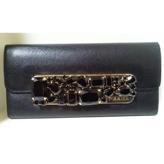プラダ(PRADA)のプラダ PRADA サフィアーノ ビジュー 長財布 美品 黒×ゴールド(財布)