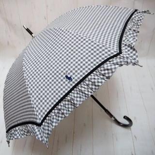 ラルフローレン(Ralph Lauren)のラルフローレン 晴雨兼用 日傘 長傘☆フリル ギンガムチェック 黒白(傘)