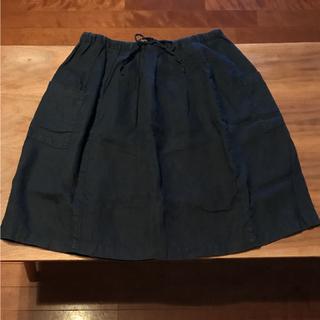 MUJI (無印良品) - 無印良品 リネン  スカート M  ネイビー