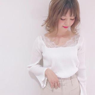 mystic - オメカシ ミスティック 肩レースロンTシャツ