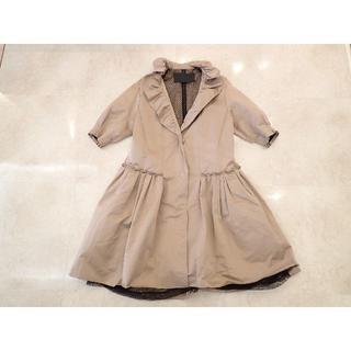 ニナリッチ(NINA RICCI)の★ニナリッチ 七分袖 コート ピンク フリル ベルト付き36(ロングコート)
