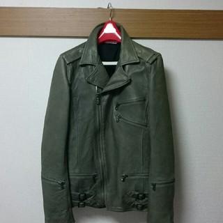 AZ牛革ダブルライダースジャケット   グリーン   Lサイズ(ライダースジャケット)