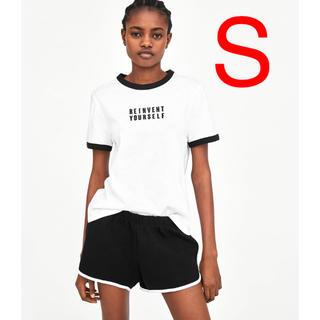 ザラ(ZARA)のZARA   リンガーTシャツ  ロゴTシャツ(Tシャツ(半袖/袖なし))