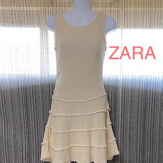 ザラ(ZARA)のZARA☆ワンピース フリル アイボリー(ミニワンピース)