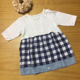 エスティークローゼット(s.t.closet)の✨s.t.closet frabjous♡胸刺繍チェックワンピース♡ブルー95✨(ワンピース)