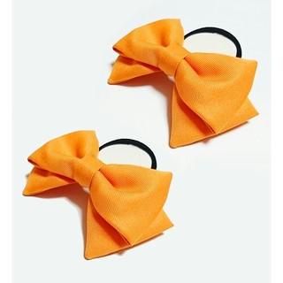 オレンジ色リボン 2個 髪飾り コスプレ ハンドメイド ハロウィン カボチャ(ヘアゴム/シュシュ)