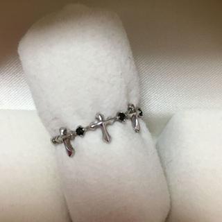K10WG ラックダイヤモンド クロス リング 10号 指輪(リング(指輪))