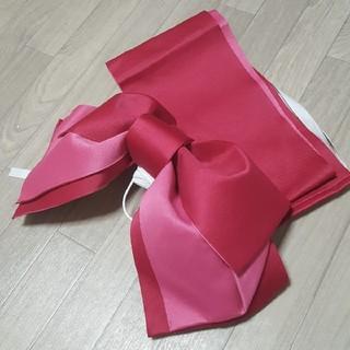 浴衣 作り帯 結び帯 ピンクxボルドー 可愛い 夏祭り リボン帯 (帯)
