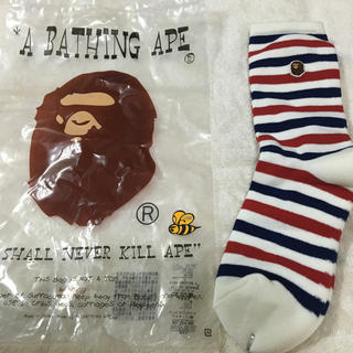 アベイシングエイプ(A BATHING APE)のA BATHING APE ボーダー柄 靴下 新品未使用 LARGE(ソックス)
