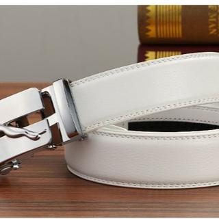2枚本革 紳士 自動 ロック 調整 可能 レザー ビジネス 調整 可能 レザー (ベルト)