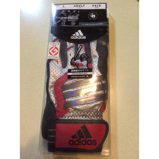 アディダス(adidas)のタイムセール! adidasバッティンググローブ銀赤黒 L両手(グローブ)
