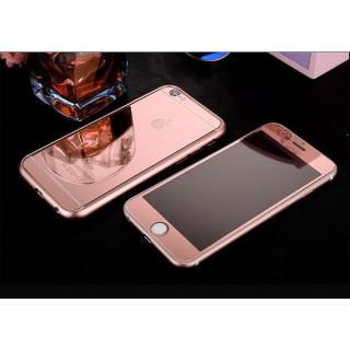 iPhone6/6s鏡面ガラス&アルミバンパー3点セット ローズゴールド(iPhoneケース)