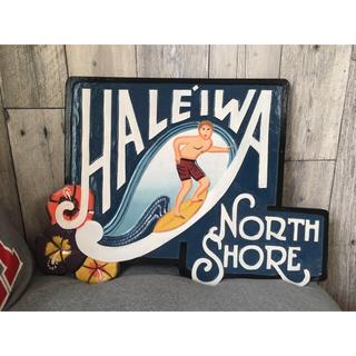 ロンハーマン(Ron Herman)のノースショア  ハレイワ 木製看板 カフェ看板 店舗ディスプレイ(ウェルカムボード)