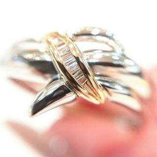 18金 K18 プラチナ ダイヤモンド リング k18 pt900(リング(指輪))