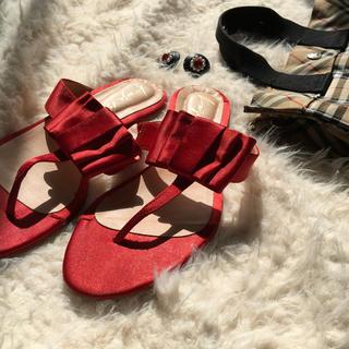 ロキエ(Lochie)の🔻vintage red satin sandal👠(サンダル)