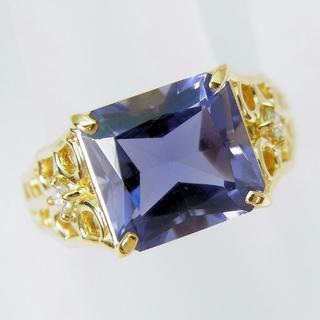 値下げ!K18 アイオライト ダイヤモンド リング 9号[f182-8](リング(指輪))
