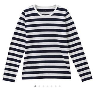 MUJI (無印良品) - 無印 白×黒 オーガニックコットン クルーネック長袖Tシャツ ボーダーTシャツ