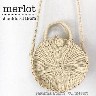 メルロー(merlot)のmerlot サークルペーパーかごバック*アイボリー119(かごバッグ/ストローバッグ)