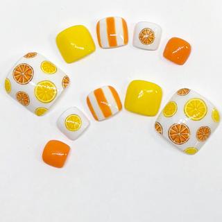 オレンジ ペディキュア  ネイルチップ  フットネイル