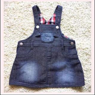 シマムラ(しまむら)の22.  80cm 濃紺デニム ジャンバースカート サロペット オーバーオール(ワンピース)