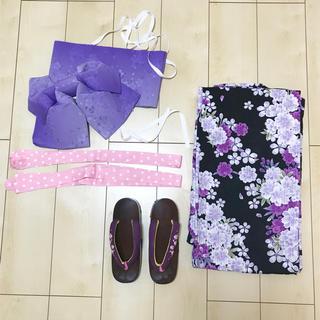 ジエンポリアム(THE EMPORIUM)の【激安!浴衣豪華6点セット!】浴衣 6点 セット 黒 紫(浴衣)