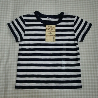 MUJI (無印良品) - 【新品】無印良品 MUJI スラブボーダー半袖Tシャツ 80 スモーキーブルー