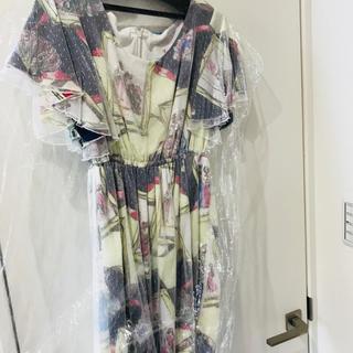 ニーナミュウ(Nina mew)のニーナミュウ チュールプリントドレス パーティ 結婚式等 美品(ミディアムドレス)