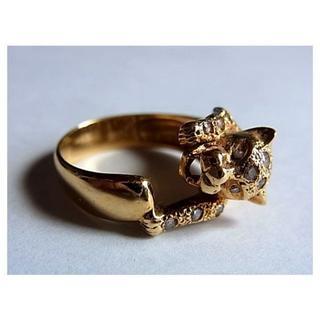 美品ダイヤモンドK18金ゴールド リング指輪16号パンサー豹モチーフ(リング(指輪))