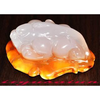 【瑪瑙(メノウ)】 天然石 高級手彫り貔貅根付 開運風水 新品一点ものFT014(彫刻/オブジェ)