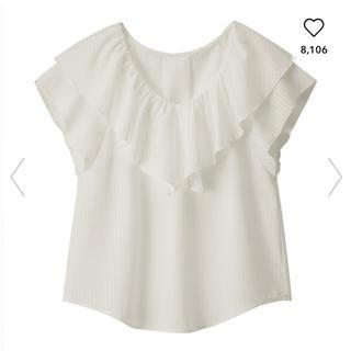 ジーユー(GU)のGUジーユー☆シアーチェックフリルブラウス☆オフホワイトMサイズ(シャツ/ブラウス(半袖/袖なし))