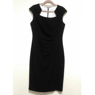 カルバンクライン(Calvin Klein)の美品 黒ワンピース ブラック ドレス カルバンクライン(ミディアムドレス)