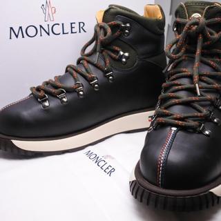 モンクレール(MONCLER)のモンクレール ブーツ カーキ トリコロール 未使用 レザー メンズ 43 生活(ブーツ)