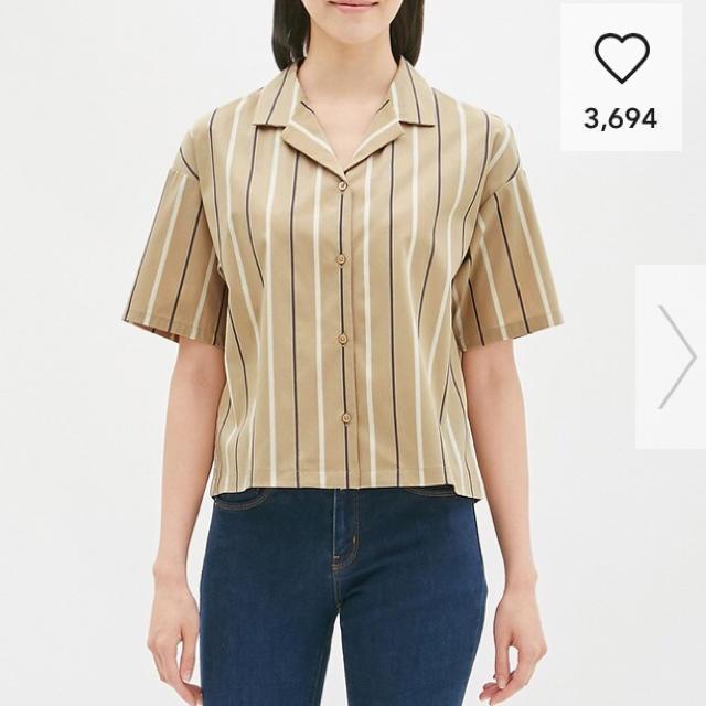GU(ジーユー)のGU 完売 ストライプオープンカラーシャツ レディースのトップス(シャツ/ブラウス(半袖/袖なし))の商品写真