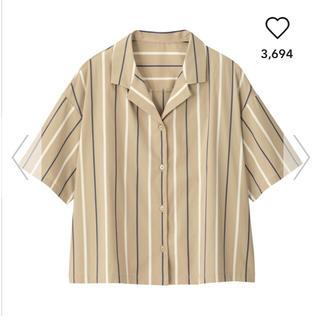 ジーユー(GU)のGU 完売 ストライプオープンカラーシャツ(シャツ/ブラウス(半袖/袖なし))
