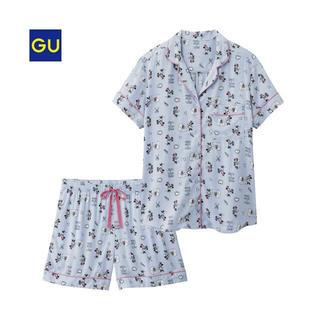 ジーユー(GU)の限定値下げ!販売終了!GU ディズニーコラボ ミニー パジャマ ブルー(パジャマ)