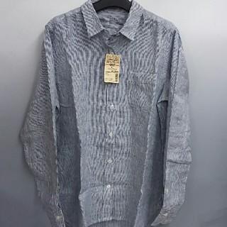 ムジルシリョウヒン(MUJI (無印良品))の新品 無印良品 フレンチリネン洗いざらし ストライプシャツ・ネイビー・XL(シャツ/ブラウス(長袖/七分))