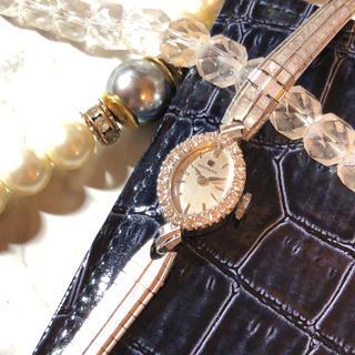ウォルサム(Waltham)の【WALTHAM】ベゼルダイヤ アーモンド14K 手巻き腕時計 WH-718(腕時計)