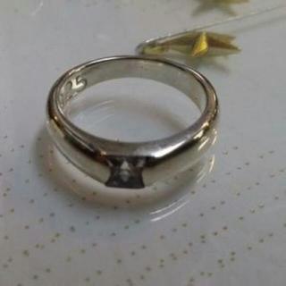 新品!【シルバー925】 ブルーCZスクエアカット一粒シンプルリング15号(リング(指輪))